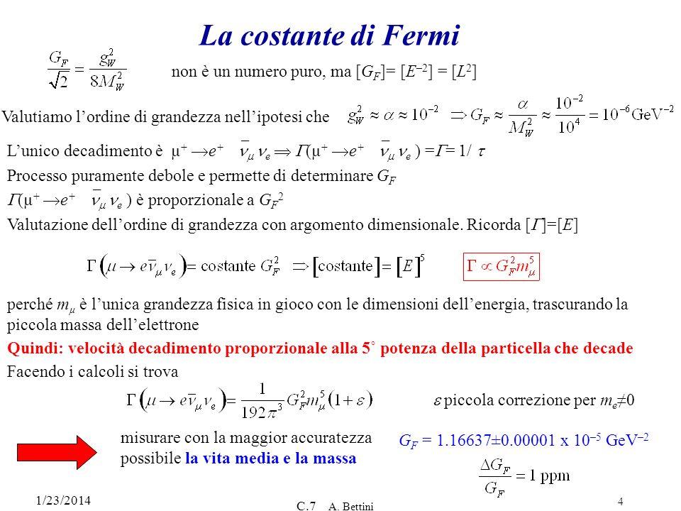 La costante di Fermi non è un numero puro, ma [GF]= [E–2] = [L2]
